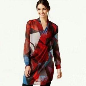 Robert Rodriguez colorful print sheer tunic top